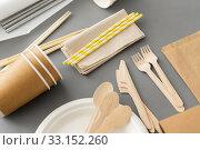Купить «disposable dishes of paper and wood», фото № 33152260, снято 3 мая 2019 г. (c) Syda Productions / Фотобанк Лори