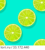 Купить «A seamless limes pattern on a vibrant teal blue background, a fruity citrus repeat print», фото № 33172440, снято 24 февраля 2020 г. (c) easy Fotostock / Фотобанк Лори