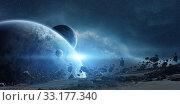 Купить «Sunrise over planet Earth in space», фото № 33177340, снято 10 июля 2020 г. (c) PantherMedia / Фотобанк Лори