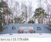 Купить «Monument of World War II in Pravdinsk, Balakhna in the Nizhny Novgorod Region», фото № 33179684, снято 5 января 2020 г. (c) Дмитрий Тищенко / Фотобанк Лори