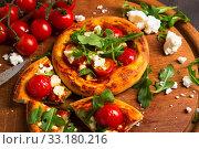 Купить «mini-pizza with feta tomato and rocket», фото № 33180216, снято 5 июля 2020 г. (c) PantherMedia / Фотобанк Лори