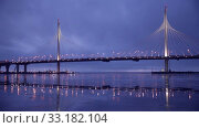 Купить «Вантовый мост на ЗСД, Санкт-Петербург», видеоролик № 33182104, снято 25 декабря 2016 г. (c) Юлия Бабкина / Фотобанк Лори