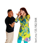 Купить «Man yelling on his frustrated wife.», фото № 33182544, снято 28 мая 2020 г. (c) PantherMedia / Фотобанк Лори
