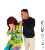 Купить «Man pointing finger at crying wife.», фото № 33182548, снято 28 мая 2020 г. (c) PantherMedia / Фотобанк Лори