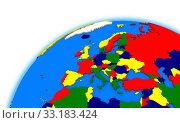 Купить «Europe on globe political map», фото № 33183424, снято 25 мая 2020 г. (c) PantherMedia / Фотобанк Лори