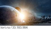 Купить «Sunrise over planet Earth in space», фото № 33183984, снято 16 июля 2020 г. (c) PantherMedia / Фотобанк Лори
