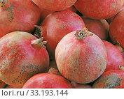 Купить «pomegranates punica granatum», фото № 33193144, снято 29 марта 2020 г. (c) PantherMedia / Фотобанк Лори