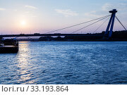 Купить «New bridge across Danube river at blue dawn», фото № 33193864, снято 14 июля 2020 г. (c) PantherMedia / Фотобанк Лори