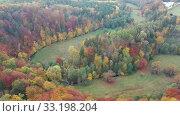 Купить «Picturesque mountains autumn landscape on cloudy day», видеоролик № 33198204, снято 18 октября 2019 г. (c) Яков Филимонов / Фотобанк Лори