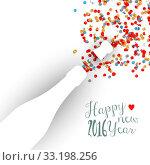 Happy new year 2016 confetti celebration champagne. Стоковое фото, фотограф Cienpies Design / PantherMedia / Фотобанк Лори