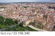 Купить «Panoramic aerial view of Logrono city on Ebro river on sunny summer day, Rioja, Spain», видеоролик № 33198340, снято 13 июля 2019 г. (c) Яков Филимонов / Фотобанк Лори