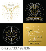 Merry christmas outline gold set bauble deer holly. Стоковое фото, фотограф Cienpies Design / PantherMedia / Фотобанк Лори
