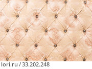 Beige soft tapestry pattern background with symmetrical buttons on the corners of diamonds. Soft and expensive furniture elements. Luxury background. Стоковое фото, фотограф Zoonar.com/Ian Iankovskii / easy Fotostock / Фотобанк Лори