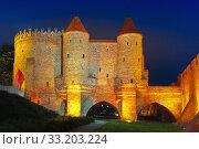 Купить «Night Barbican in the Old Town of Warsaw, Poland», фото № 33203224, снято 11 июля 2020 г. (c) PantherMedia / Фотобанк Лори