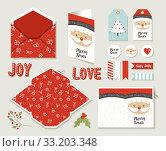 Купить «Merry christmas set printable greeting card cute», фото № 33203348, снято 8 апреля 2020 г. (c) PantherMedia / Фотобанк Лори