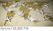 Airplanes on world map. Airline flight routes and airport travel and tourism background. Стоковое фото, фотограф Maksym Yemelyanov / Фотобанк Лори
