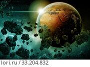 Купить «Meteorite impact on a planet in space», фото № 33204832, снято 10 июля 2020 г. (c) PantherMedia / Фотобанк Лори