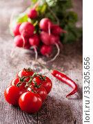Купить «tomato,chilli and red radisches on a wooden board», фото № 33205656, снято 25 мая 2020 г. (c) PantherMedia / Фотобанк Лори