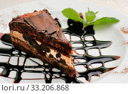 Chocolate cake with a brown topping and sprig of mint. Стоковое фото, фотограф Алексей Хромушин / Фотобанк Лори