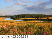 Rural landscape with a river at summer time. Стоковое фото, фотограф Алексей Хромушин / Фотобанк Лори