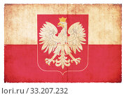 Grunge flag Poland with coat of arms. Стоковое фото, фотограф Christian Müringer / PantherMedia / Фотобанк Лори