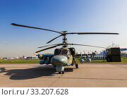 Купить «Russian K-52 reconnaissance and attack helicopter at the international aviation and space salon in Zhukovsky. Russia», фото № 33207628, снято 30 августа 2019 г. (c) Наталья Волкова / Фотобанк Лори