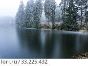Zugefrorener Teich des Oberharzer Wasserregal, Teil des UNESCO Welterbe im Harz, Clausthal-Zellerfeld, Niedersachsen, Deutschland | Frozen pond of the... Стоковое фото, фотограф Peter Schickert / age Fotostock / Фотобанк Лори