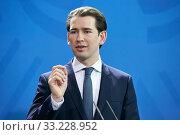Berlin, Germany - Sebastian Kurz, Federal Chancellor of the Republic of Austria. (2020 год). Редакционное фото, агентство Caro Photoagency / Фотобанк Лори