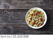 Купить «pasta salad with green peas, fried bacon», фото № 33229008, снято 28 ноября 2019 г. (c) Oksana Zh / Фотобанк Лори