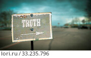 Купить «Street Sign the Direction Way to Truth», фото № 33235796, снято 26 мая 2020 г. (c) easy Fotostock / Фотобанк Лори