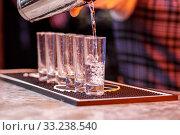 Купить «Barman at work, preparing cocktails.», фото № 33238540, снято 30 марта 2020 г. (c) PantherMedia / Фотобанк Лори