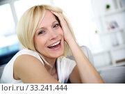 Купить «Portrait of beautiful blond woman», фото № 33241444, снято 12 июля 2020 г. (c) PantherMedia / Фотобанк Лори