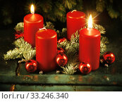 xmas advent wreath with two lighted candles. Стоковое фото, фотограф Daniel Reiter / PantherMedia / Фотобанк Лори