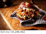 Купить «Tasty homemade pulled pork burger», фото № 33246432, снято 16 июля 2020 г. (c) PantherMedia / Фотобанк Лори
