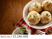 Купить «Potato Dumplings in overhead top down view», фото № 33246448, снято 28 февраля 2020 г. (c) PantherMedia / Фотобанк Лори