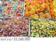 Bulk of colourful gummi candies at market. Стоковое фото, фотограф Marko Beric / PantherMedia / Фотобанк Лори