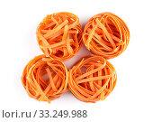 Купить «chilli orange fettuccine pasta», фото № 33249988, снято 25 мая 2020 г. (c) PantherMedia / Фотобанк Лори