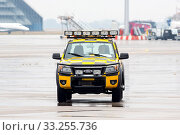 Купить «Sofia, Bulgaria - October 16, 2016: Follow me car at the Sofia airport.», фото № 33255736, снято 16 октября 2016 г. (c) age Fotostock / Фотобанк Лори