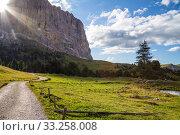 Купить «Mountain trail lighted by sunbeam», фото № 33258008, снято 30 мая 2020 г. (c) PantherMedia / Фотобанк Лори