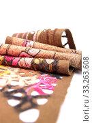 Купить «Сложенный женский шарф из валяной шерсти на белом фоне», фото № 33263608, снято 26 января 2020 г. (c) V.Ivantsov / Фотобанк Лори