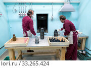 Sopot, Bulgaria - May 17, 2016: Arsenal workers are producing RPG head's triggers in one of Bulgaria's arms factory. The facility produces and assembles... Редакционное фото, фотограф Zoonar.com/Cylonphoto / age Fotostock / Фотобанк Лори