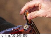 Купить «France, Alsace, Rhine forest, hunting small game, charging with cartridge.», фото № 33266856, снято 24 ноября 2019 г. (c) age Fotostock / Фотобанк Лори