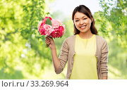 Купить «happy asian woman with bunch of flowers», фото № 33269964, снято 11 мая 2019 г. (c) Syda Productions / Фотобанк Лори