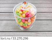Купить «close up of glass jar with colorful candy drops», фото № 33270296, снято 6 июля 2018 г. (c) Syda Productions / Фотобанк Лори