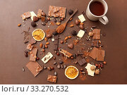 Купить «hot chocolate with nuts, cocoa powder and candies», фото № 33270532, снято 1 февраля 2019 г. (c) Syda Productions / Фотобанк Лори