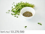 Купить «fresh thyme and dry seasoning on white background», фото № 33270580, снято 12 июля 2018 г. (c) Syda Productions / Фотобанк Лори