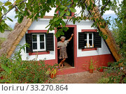 Typical house in Santana, Madeira. Стоковое фото, фотограф Edwin Giesbers / Nature Picture Library / Фотобанк Лори