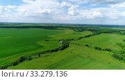 Купить «Beautiful rural landscape shot from above. Russia», видеоролик № 33279136, снято 29 февраля 2020 г. (c) Володина Ольга / Фотобанк Лори