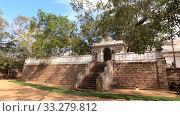 Вид на священное дерево Sri Maha Bodhi солнечным днем. Анурадхапура, Шри-Ланка (2020 год). Стоковое видео, видеограф Виктор Карасев / Фотобанк Лори