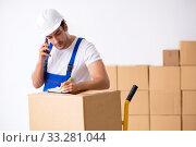 Купить «Young male professional mover doing home relocation», фото № 33281044, снято 7 августа 2019 г. (c) Elnur / Фотобанк Лори